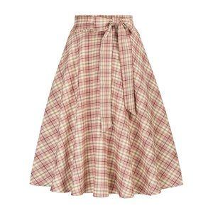 Pink Plaid A-Line Skirt